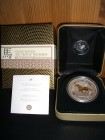 Lunar I Pferd 2002, 1 Unze, Silber gilded + Box + COA
