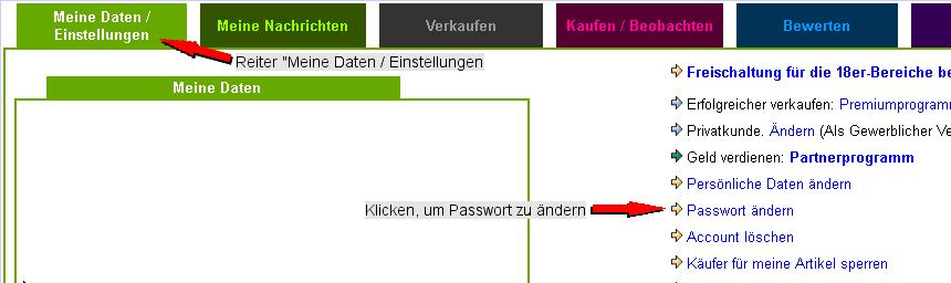 Mein talero - Meine Daten /Einstellungen - Passwort ändern