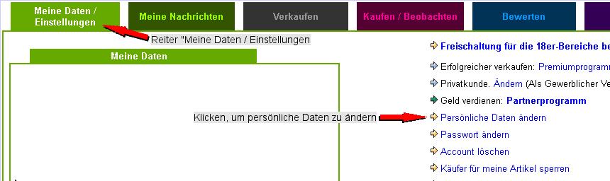 Mein -talero - Meine Daten / Einstellungen - Pers�nliche Daten �ndern