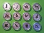 Lunar Serie I, Silber 1 Unze komplett Set 12 St�ck OVP
