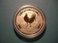 Lunar 1, Hahn 2005 Silber gilded, vergoldet, 1 Oz Perth Mint
